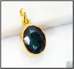 Indian Emerald Gem Stone 18-Kt Gold Platings Graduated Pendant L 1.5in Gppiem-3216 http://www.riyogems.com
