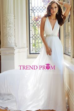 2014 V Neck Ruched Bust A Line Chiffon Wedding Dress Beaded Waistline And Tulle Back Chapel Train $209.99 TDPY1JCYLD - TrendProm.com