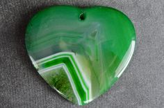 48mm Green Agate Pendant, Designer Stone Pendant, 48x44x7mm Green, White Agate Slice Stone Pendant, Heart, Striped Agate by TheBeadBandit on Etsy