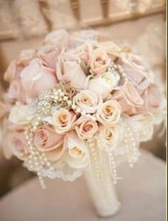 .USE CREME, LIGHT PINK, AND PALE YELLOW ROSES WITH PEARLS vintage