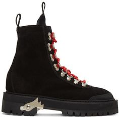 Off-White Black Suede Hiking Boots (4.110 RON) ❤ liked on Polyvore featuring shoes, boots, black, laced boots, black and white shoes, lace up boots, off white boots and black and white boots