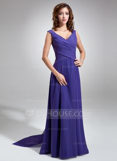 A-Line/Princess V-neck Floor-Length Chiffon Bridesmaid Dress With Ruffle Bow(s) (007001484) I CAN ORDER THIS IN IVORY!