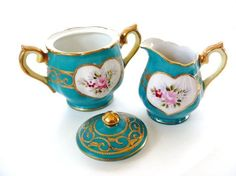 I love this!  I really do!  pink and green cream and sugar set - Google Search