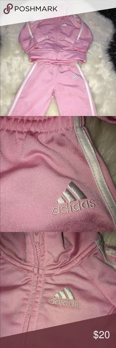 Adidas BABY Girl outfit! No stains or flaws! Baby pink tracksuit comes with  top 693535ab26d81