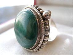 Sterling Silver Green Malachite Vintage Ring 10.9g via Etsy