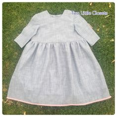 A personal favourite from my Etsy shop https://www.etsy.com/au/listing/590049704/grey-dress-with-pink-pompom-trim