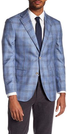 Jack Victor Plaid Classic Fit Textured Linen Blend Sport Coat
