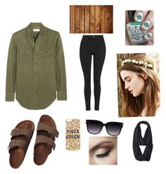 """""""Casual Beauty"""" by hhall0905 ❤ liked on Polyvore featuring Yves Saint Laurent, Topshop, Birkenstock and The North Face"""