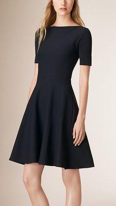 Navy Slash-Neck A-line Dress