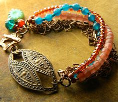 Urban Tribal Bracelet Copper Focal Teal Blue by ChrysalisToo, $72.00