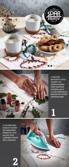 Őszi terítő:  Az ősz változatos színeit az asztalra varázsolhatjuk változatos formájú falevelek segítségével. Ehhez nincs szükség másra, mint egy egyszerű fehér terítőre és levelekre, melyek körvonala mentén pöttyözéses módszerrel megfestjük a textilt. Használjunk barna, narancs-, zöld, - és sárga textilfestéket, radíros végű ceruzát, majd a végén szükségünk lesz selyempapírra és ollóra. A gyerekeket is vonjunk be az alkotásba, nagy örömmel fognak segíteni!