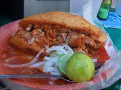 La Torta Ahogada es Tradicional de Guadalajara y consiste en un tipo especial de pan llamado birote salado, relleno de carnitas (del dia) y bañada en una salsa de chile yahualica condimentada, acompañada de cebolla desflemada y limón. Si no gustan de comer tanto chile pueden bañarla con salsa de jitomate, o media y media. Las hay también de buche para los experimentados y de camarón o pulpo para la cuaresma.
