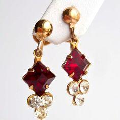 Vintage Red Diamond Screwback Earrings by PinkAstilbe on Etsy, $12.00