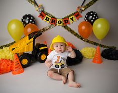 We love this DUMP TRUCK BANNER for a Construction Birthday Party, Baby Shower, Nursery, or Little Boys Room! Made from fabric, this banner is durable & re-usable. PENNANTS: Solid orange fabric and Yellow polka dot fabric LETTERING: Black fabric RIBBONS: Orange, yellow, black,