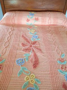 Vintage Peach Apricot Chenille Bedspread  Cotton by AStringorTwo, $64.00