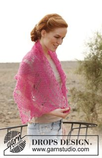 "Knitted DROPS scarf with lace pattern in ""Vivaldi"". ~ DROPS Design"