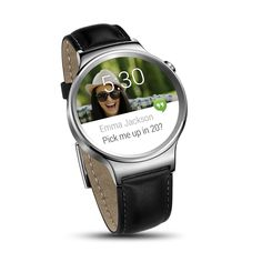 Huawei Android Wear SmartWatch Stainless Steel w/ Black Suture Leather Strap for $269.99