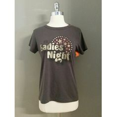 """Junk Food Gray Ladies Night Print Tee Shirt Condition:  very good (small discoloration and small hole repaired on front hem) See measurements may not be true to size. Length: 18"""" Chest: 24""""  sleeve: 6"""" Junk Food Tops Tees - Short Sleeve"""