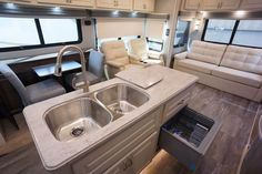 Beachfront decor, aurora countertop and dishwasher in the island of the Luxe 39FB Fifth Wheel Luxury Fifth Wheel, 5th Wheels, Build Your Own, Countertops, Sink, Floor Plans, Flooring, Building, Aurora
