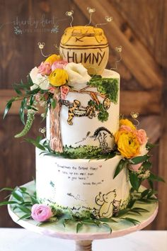I AM SOOO IN LOVE with this cake. I mean Im not even a fan of Winnie the Pooh (hold the pitch forks) but a classic Winnie design and Winnie The Pooh Themes, Winnie The Pooh Cake, Winnie The Pooh Nursery, Winnie The Pooh Birthday, Baby Birthday, Birthday Ideas, Baby Girl Shower Themes, Baby Shower Fun, Baby Shower Gender Reveal