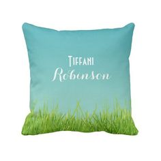 Green Grass Blue Sky Throw Pillow (3575 RSD) ❤ liked on Polyvore featuring home, home decor, throw pillows, monogram, pillow, blue green throw pillows, blue toss pillows, blue home accessories, monogram throw pillow and blue throw pillows