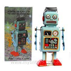 Blue Aerial Robot, a toy tin robot