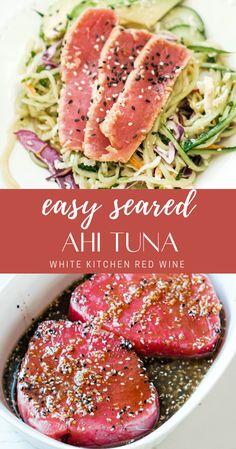 Seared Ahi Tuna Recipe, Ahi Tuna Steak Recipe, Best Tuna Salad Recipe, Tuna Steak Recipes, Ahi Tuna Recipe Healthy, Seared Tuna Salad, Ahi Tuna Salad, Ahi Recipes, Healthy Diet Recipes