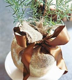 little herbs wrapped in burlap