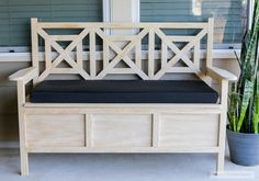Need extra seating and storage? Build this DIY outdoor storage bench with beautiful fretwork panels and spacious storage under the flip-top seat.