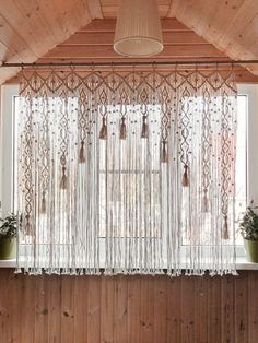 Macrame Curtain/Kitchen Valance/Woven Curtain on bamboo rings/ Large wallhanging/ Macrame Window Curtain/ Ready to ship/ Macrame tassels ******* Makramee-Fenstervorhang an. Decor, Window Decor, Curtains, Kitchen Valances, Door Curtains, Wall Hanging, Diy Curtains, Macrame Curtain, Window Valance
