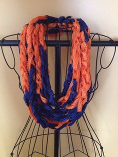 Navy and Orange Team Spirit Crocheted Infinity Chain Scarf, chain scarf, infinity scarf, sports accessory on Etsy, $15.00