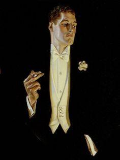 J.C. Leyendecker, Arrow Collar, 1930. Detail. #arrowcollar #tux #blackandwhite