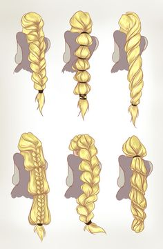 """""""Got round to colouring these. Rapunzel hair concepts for my and Emily's Rise of the Brave Tangled Dragons webcomic. """"dreamwips: """"Got round to colouring these. Rapunzel hair concepts for my and Emily's Rise of the Brave Tangled Dragons webcomic. How To Draw Braids, How To Draw Hair, Art Reference Poses, Drawing Reference, Hand Reference, Anatomy Reference, Design Reference, Drawing Tips, Drawing Sketches"""