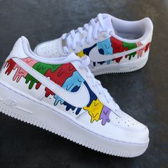 Nike Air Force, Air Force One Shoes, Cute Nike Shoes, Cute Nikes, Nike Air Shoes, Custom Painted Shoes, Custom Shoes, Custom Af1, Nike Boots