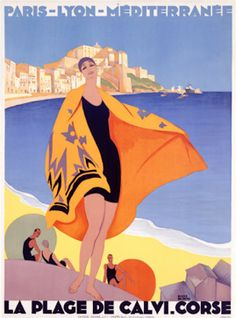 By Roger Broders (1883-1953), La Plage de Calvi.    Johna Beall Real Estate in Seattle