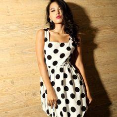 Sweet Black Polka Dot Dress White $25.14