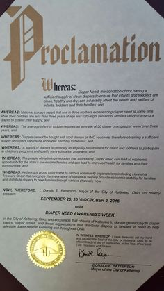 KETTERING, OH- Mayoral proclamation recognizing Diaper Need Awareness Week (Sep. 26-Oct. 2, 2016) #DiaperNeed Diaperneed.org