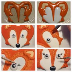 Fox cookies using a butterfly cutter No Bake Sugar Cookies, Sugar Cookie Royal Icing, Fancy Cookies, Fox Cookies, Cute Cookies, Brownie Cookies, Cupcakes, Cupcake Cakes, Fox Cake