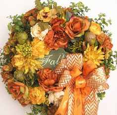 Thanks so much for stopping by and visit my creations. All my wreath is unique and created in highest quality.  This lovely Autumn, Fall flower door wreath sets on a nature grapevine wreath base.  The wreath is embellished with beautiful brunt orange Peonies, moss green Mums, orange Dahlias, brunt orange Roses,and moss green,brunt orange Hydrangeas. The wreath is accented with three moss green Acorns and a welcome Fall sign in the middle. I finish the wreath with a tan/cream chevron and…