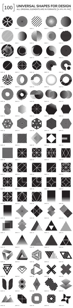 100 geometric shapes by Vanzyst on Creative Market - Graphic Work Graphisches Design, Design Elements, Logo Design, Shape Design, Pattern Design, Geometric Designs, Geometric Art, Geometric Patterns, Geometric Symbols