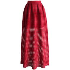Chicwish Glam Stripes Cutout Maxi Skirt in Red (62 CAD) ❤ liked on Polyvore