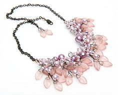 Pink Beaded Necklace, Bib Necklace, Bridal Jewelry, Nature Inspired Jewelry in brass chain and wire work