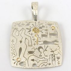 Gold on Silver Petroglyph Pendant by Myron Panteah - Garland's Indian Jewelry