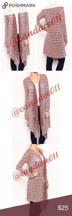 """⭐️SALE!⭐️Long Striped Cardigan 🔹56% polyester, 41% rayon, 3% spandex 🔹Length: 40"""" (longest point of the front) - 35"""" (back) 🇺🇸Made in the USA🇺🇸 CC Boutique  Sweaters Cardigans"""