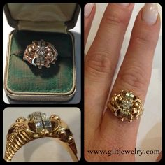 This 18k two tone diamond ring is a wonderful example of 1940s Retro style. $965. #giltjewelry #gold #1940 #retro #diamond #engagement #pow