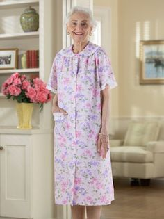 Cotton/Poly Snap Front Duster with Collar Adaptive Clothing for Seniors, Disabled & Elderly Care Old Lady Clothes, Over The Hill Gifts, Perfect Strangers, House Dress, Dusters, Old Women, Night Gown, Gifts For Her, Cool Outfits