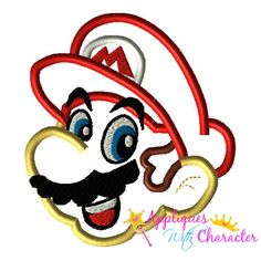 Mareo Head Video Game Applique Embroidery Machine Design 4 sizes Instant Download by appliqueswcharacter on Etsy