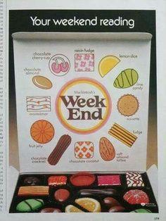 Mackintosh Week End box of chocolates 70s Sweets, Vintage Sweets, Retro Sweets, Vintage Candy, Vintage Food, Retro Candy, Vintage Stuff, Vintage Signs, 1970s Childhood