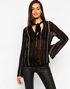 ASOS Sequin Stripe Pussy Bow Blouse