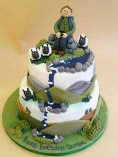 Climbed a mountain Mehr 70th Birthday Cake, 40th Cake, Birthday Snacks, Dad Cake, Mountain Cake, Camping Cakes, Bike Cakes, Fondant Cakes, Fondant Icing